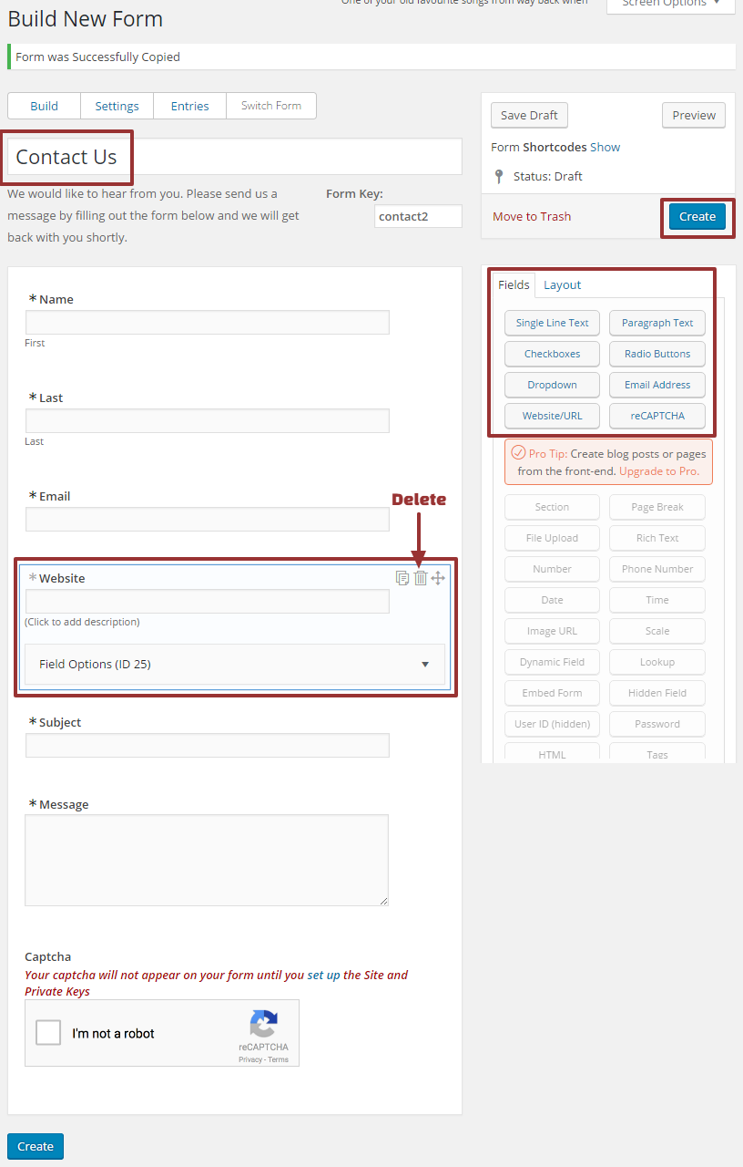 how to create form in wordpress page