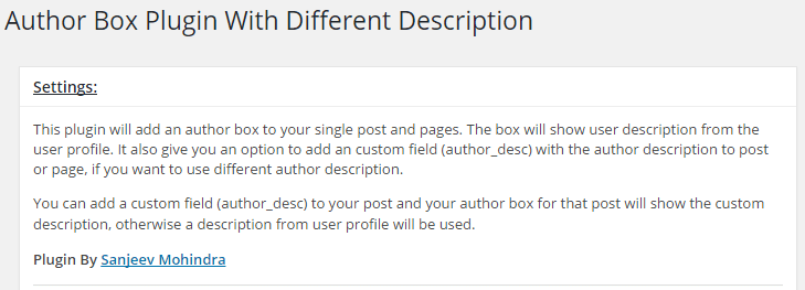 Setup Author Box with Different Description Plugin in WordPress