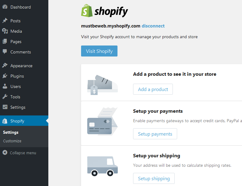 shopify-setting-plugin How to start eCommerce with Shopify in WordPress