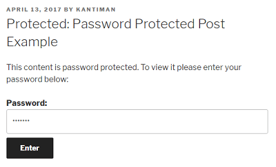 password- How to Set Password to Posts and Pages in WordPress